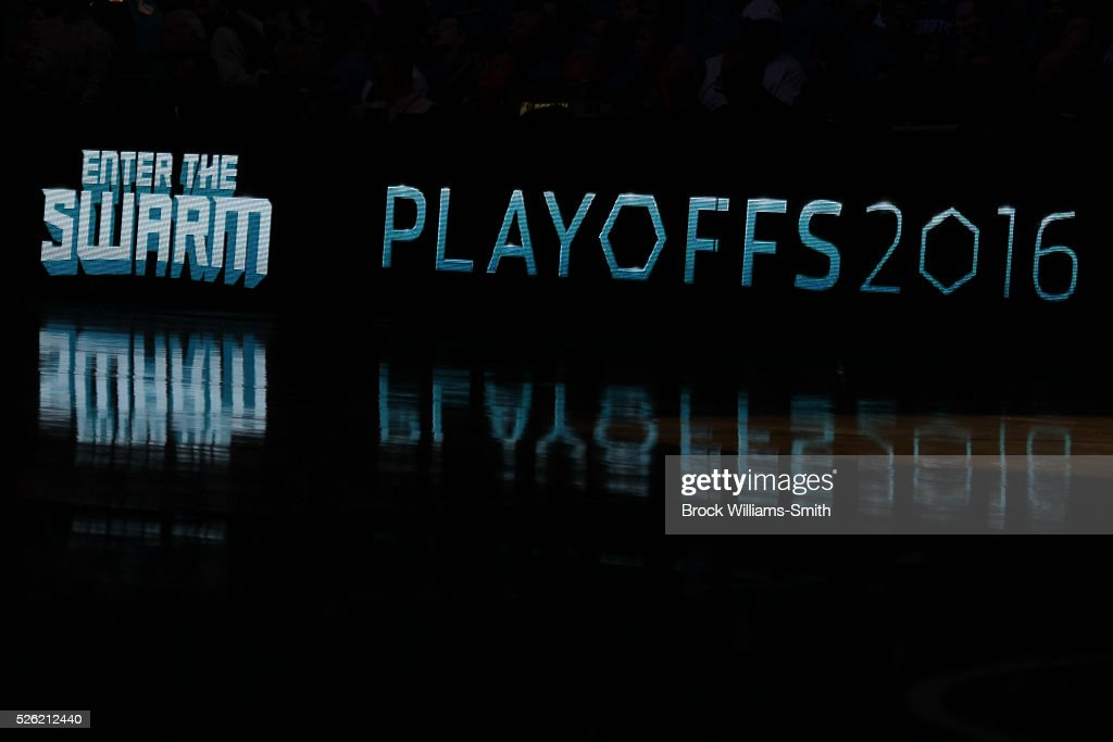 A general view in Game Six of the Eastern Conference Quarterfinals between the Miami Heat and Charlotte Hornets during the 2016 NBA Playoffs on April 29, 2016 at Time Warner Cable Arena in Charlotte, North Carolina.