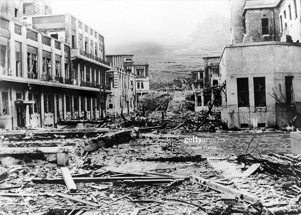 General view in July 1946 of the Nagasaki Medical School in Japan it was located at about one kilometer from where the American atomic bomb was...