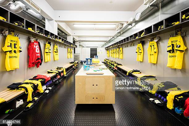 A general view in the dressing room of Dortmund prior to the UEFA Europa League Round of 16 First Leg match between Borussia Dortmund and Tottenham...