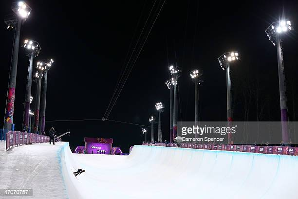 A general view in the Freestyle Skiing Ladies' Ski Halfpipe Qualification on day thirteen of the 2014 Winter Olympics at Rosa Khutor Extreme Park on...