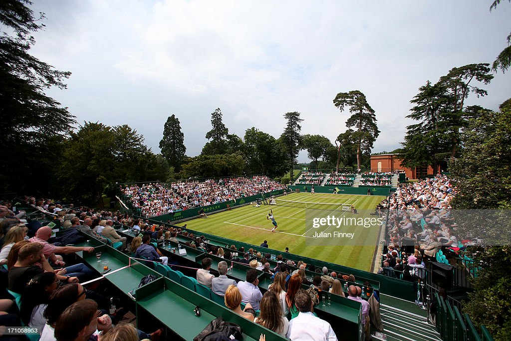 A general view in the match between <a gi-track='captionPersonalityLinkClicked' href=/galleries/search?phrase=Juan+Martin+Del+Potro&family=editorial&specificpeople=606583 ng-click='$event.stopPropagation()'>Juan Martin Del Potro</a> of Argentina and Richard Gasquet of France during The Boodles Tennis Event at Stoke Park on June 21, 2013 in Stoke Poges, England.