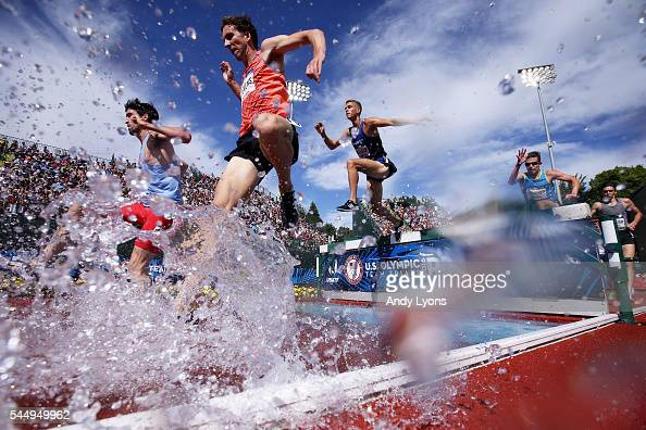 A general view in the Men's 3000 Meter Steeplechase during the 2016 US Olympic Track Field Team Trials at Hayward Field on July 4 2016 in Eugene...