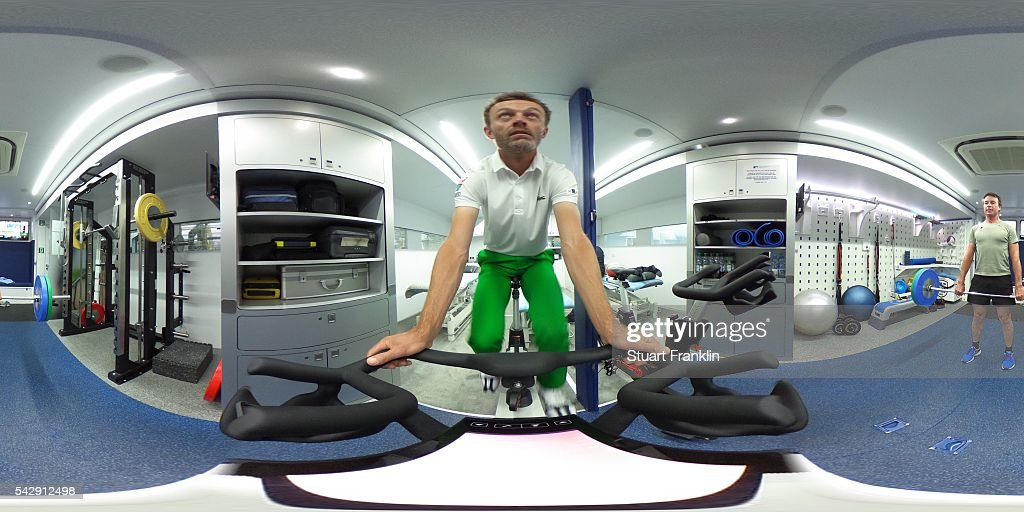 A general view in the physio van with Raphael Jacquelin of France and Brett Rumford of Australia during the third round of the BMW International Open at Gut Larchenhof on June 25, 2016 in Cologne, Germany.