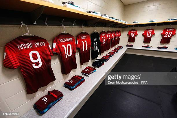 A general view in the Portugal change room prior to the FIFA U20 World Cup New Zealand 2015 Round of 16 match between Portugal and New Zealand at...