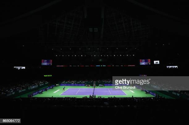 A general view in the singles match between Karolina Pliskova of Czech Republic and Venus Williams of the United States during day 1 of the BNP...