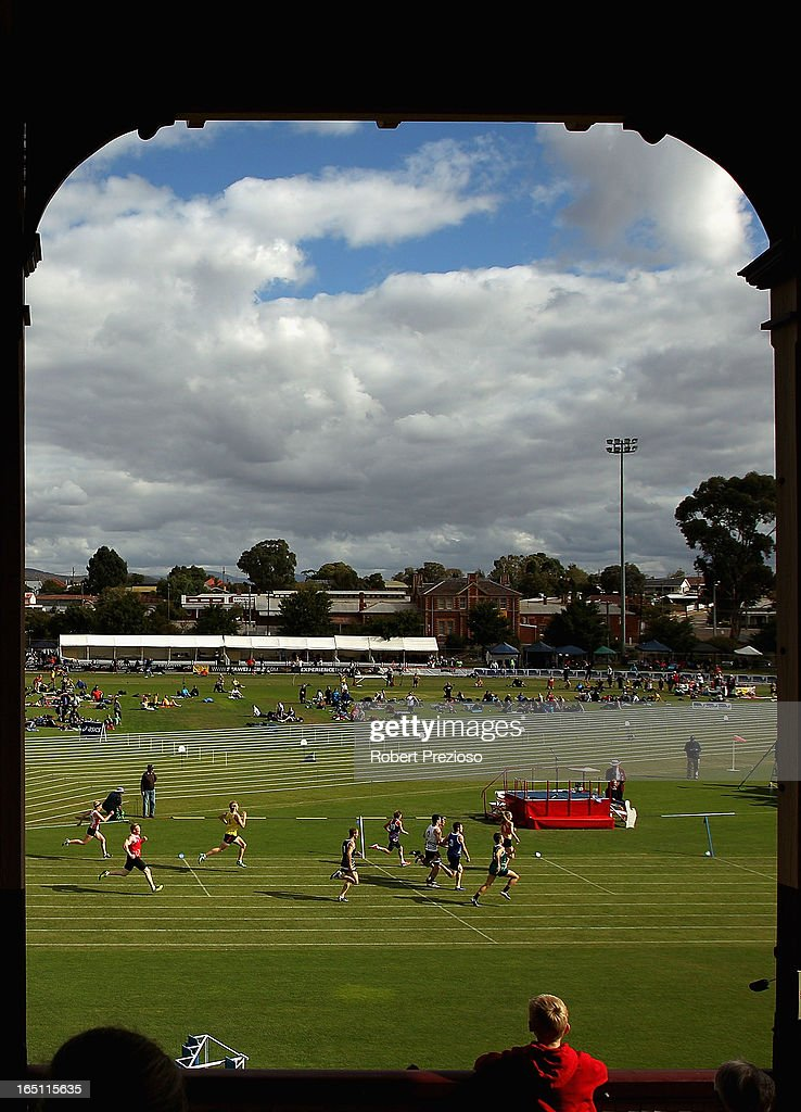 A general view in the SportzBiz 400m Series Final during the 2013 Stawell Gift carnival at Central Park on March 31, 2013 in Stawell, Australia.