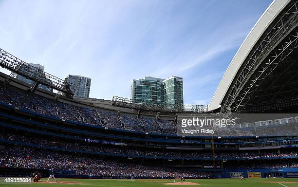 A general view in the third inning during a MLB game between the Boston Red Sox and the Toronto Blue Jays at Rogers Centre on September 20 2015 in...