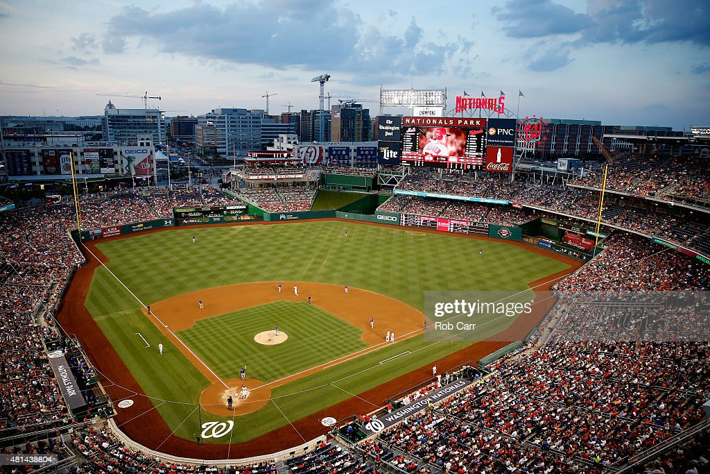 A general view in the third inning of the Washington Nationals and New York Mets game at Nationals Park on July 20 2015 in Washington DC