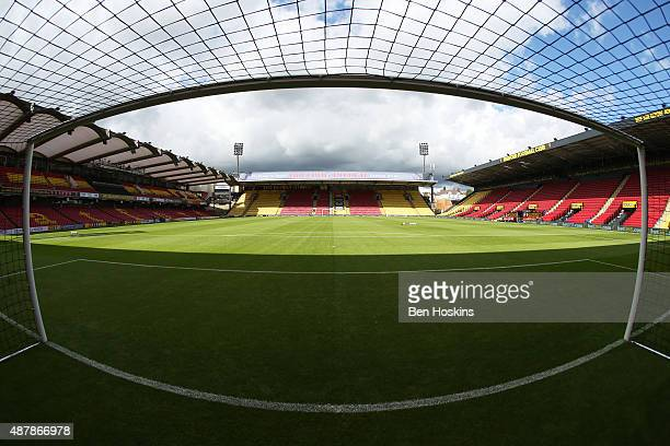 A general view insdie the stadium prior to the Barclays Premier League match between Watford and Swansea City at Vicarage Road on September 12 2015...