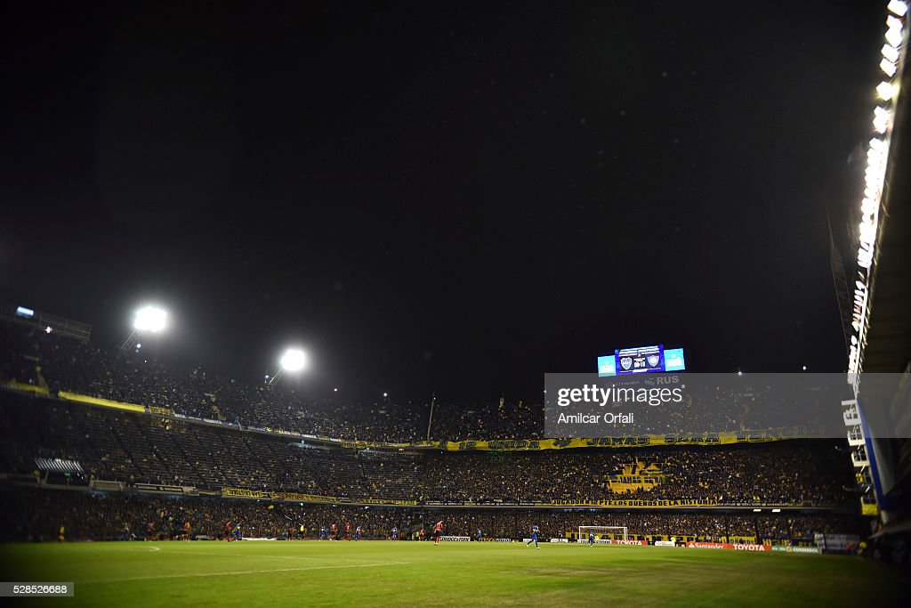 General view inside Alberto J Armando Stadium prior to a second leg match between Boca Juniors and Cerro Porteno as part of round of sixteen of Copa Bridgestone Libertadores 2016 at Alberto J Armando Stadium on May 05, 2016 in Buenos Aires, Argentina.
