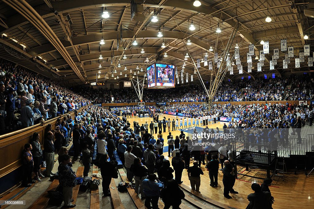 A general view inside Cameron Indoor Stadium during the National Anthem prior to a game between the North Carolina Tar Heels and the Duke Blue Devils on March 3, 2013 in Durham, North Carolina. Duke defeated North Carolina 65-58.