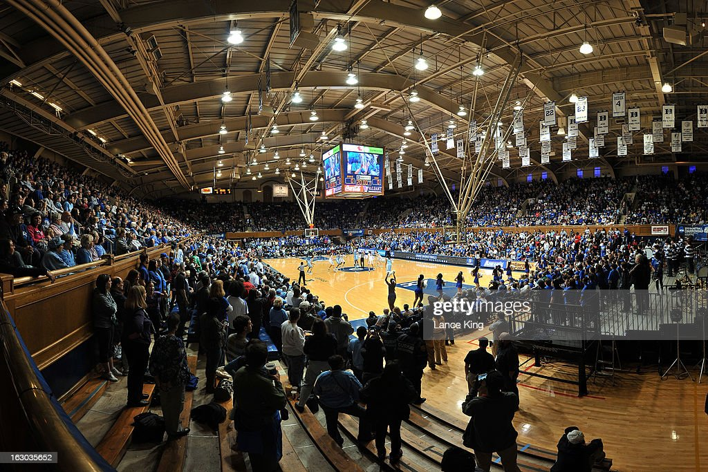 A general view inside Cameron Indoor Stadium during the tip-off of a game between the North Carolina Tar Heels and the Duke Blue Devils on March 3, 2013 in Durham, North Carolina. Duke defeated North Carolina 65-58.
