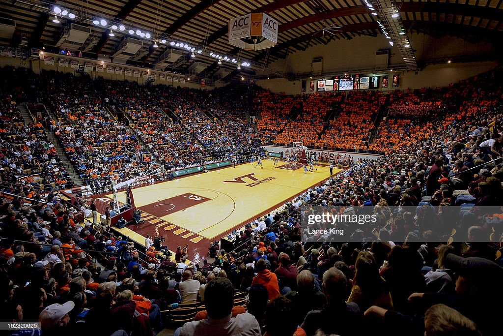 A general view inside Cassell Coliseum during a game between the Duke Blue Devils and the Virginia Tech Hokies on February 21, 2013 in Blacksburg, Virginia. Duke defeated Virginia Tech 88-56.