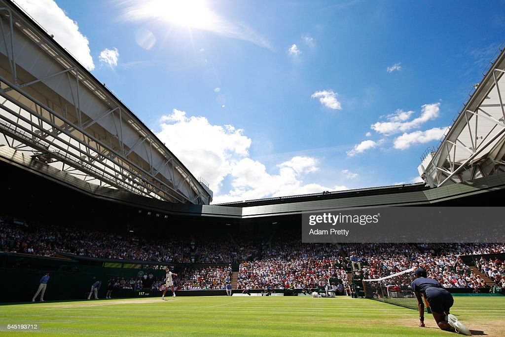 A general view inside Centre court as Roger Federer of Switzerland plays during the Men's Singles Quarter Finals match against Marin Cilic of Croatia...