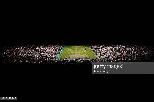 A general view inside Centre Court as Roger Federer of Switzerland plays during the Men's Singles Semi Final match against Milos Raonic of Canada on...