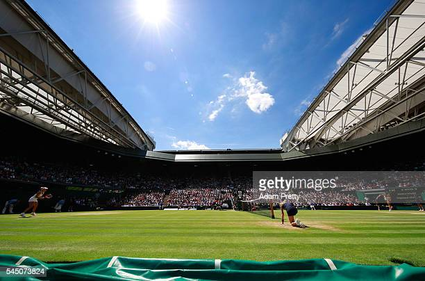 A general view inside Centre Court as Simona Halep of Romania and Angelique Kerber of Germany play in the Ladies Singles Quarter Finals match on day...