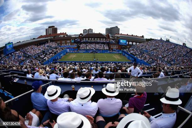 A general view inside centre court during the mens singles quarter final match between Grigor Dimitrov of Bulgaria and Daniil Medvedev of Russia on...