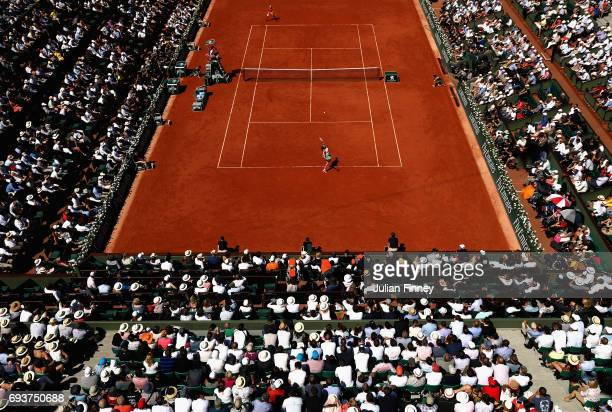 A general view inside Court Philippe Chatrier during the ladies singles semifinal match between Jelena Ostapenko of Latvia and Timea Bacsinszky of...