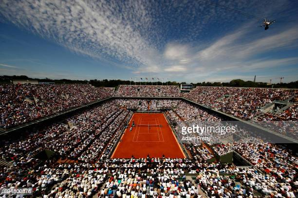 A general view inside Court Philippe Chatrier during the mens singles final between Rafael Nadal of Spain and Stan Wawrinka of Switzerland on day...