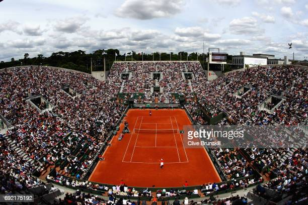 A general view inside Court Suzanne Lenglen during the mens singles fourth round match between Rafael Nadal of Spain and Roberto Bautista Agut of...