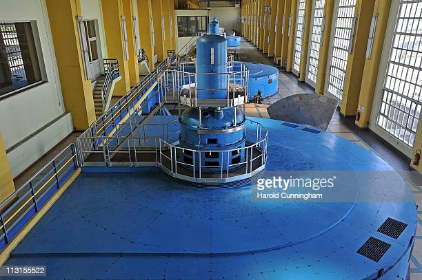 A general view inside Fessenheim's hydroelectric power plant over The Grand Canal of Alsace part of the Rhine river is seen on April 25 2011 in...