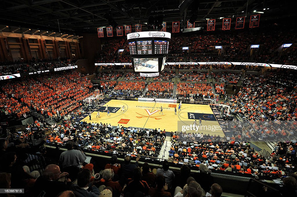 A general view inside John Paul Jones Arena during a game between the Duke Blue Devils and the Virginia Cavaliers on February 28, 2013 in Charlottesville, Virginia. Virginia defeated Duke 73-68.