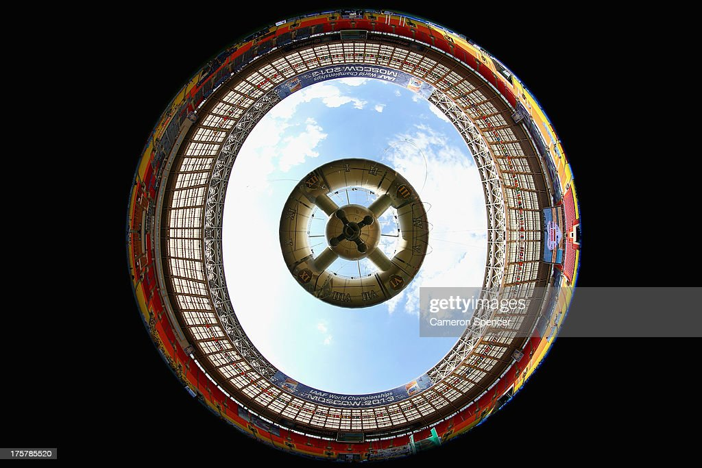 A general view inside Luzhniki Stadium ahead of the 14th IAAF World Athletics Championships Moscow 2013 on August 8, 2013 in Moscow, Russia.