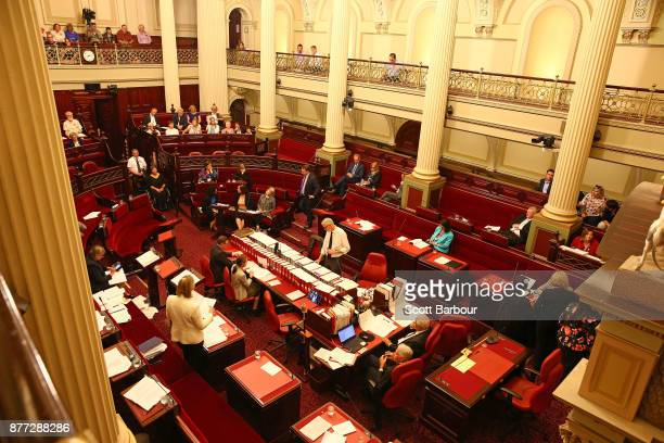 A general view inside of the Parliament of Victoria on November 22 2017 in Melbourne Australia Government MPs believe they will pass Victoria's...