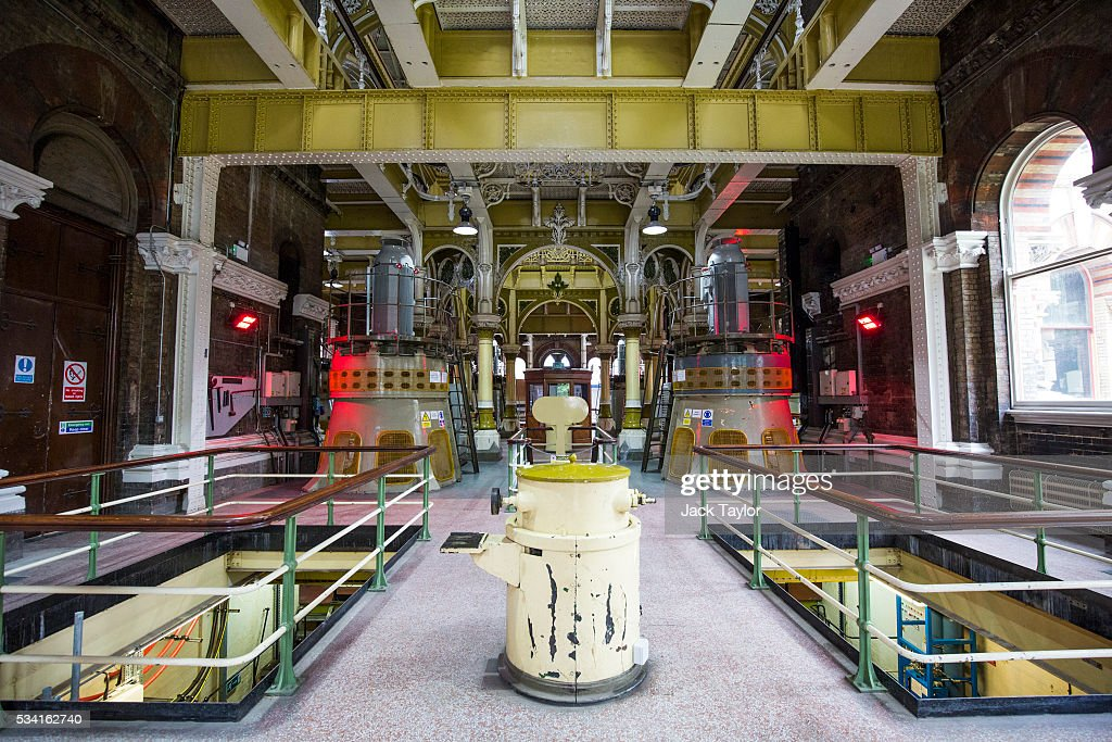 A general view inside The Abbey Mills pumping station in Stratford on May 25, 2016 in London, England. The Grade II listed building, designed by British engineer Joseph Bazalgette to lift sewage from the low-lying areas of north London, was completed in 1868. Thames Water marks Sewage Week this week with a series of events inviting members of the public down into the underground sewer network and around the Abbey Mills pumping station in east London.