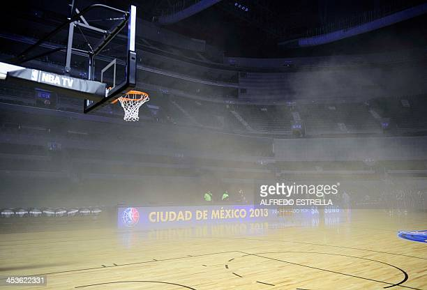 General view inside the Arena Ciudad de Mexico where players were evacuated from smoke before the NBA match between Minnesota Timberwolves and San...