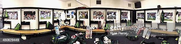 A general view inside the Australian Cricket Team Dressing Room ahead of the First Ashes Test match at The Gabba on November 20 2013 in Brisbane...