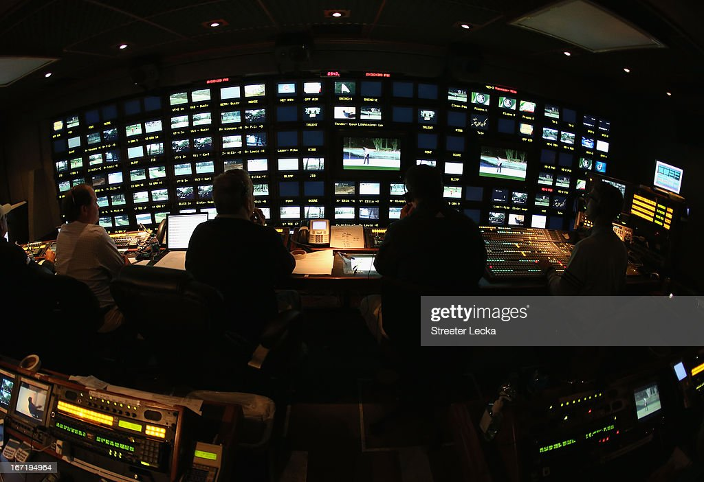 A general view inside the CBS Sports production truck during the final round of the RBC Heritage at Harbour Town Golf Links on April 21, 2013 in Hilton Head Island, South Carolina.