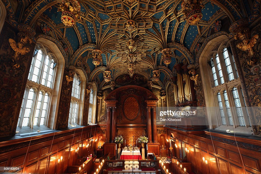 A general view inside the chapel ahead of a service at the Hampton Court Palace on February 9, 2016 in London, England. This evening Henry VIII's Chapel at Hampton Court will host the first Catholic service to be held there in over 450 years. The service will be led by Archbishop of Westminster, Cardinal Vincent Nichols, the head of the Roman Catholic Church in England and Wales and attended by Bishop of London, Rt Revd Dr Richard Chartres who will deliver the sermon. Renowned ensemble The Sixteen will perform works from the Reformation period during the service.