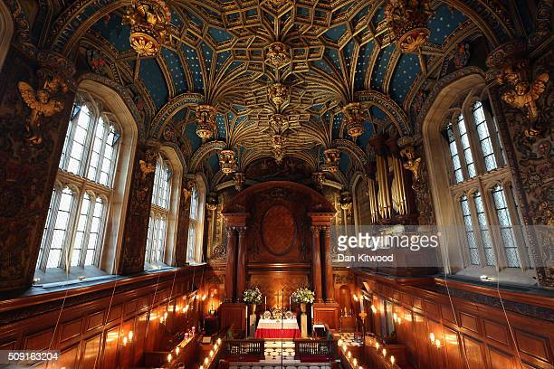 A general view inside the chapel ahead of a service at the Hampton Court Palace on February 9 2016 in London England This evening Henry VIII's Chapel...