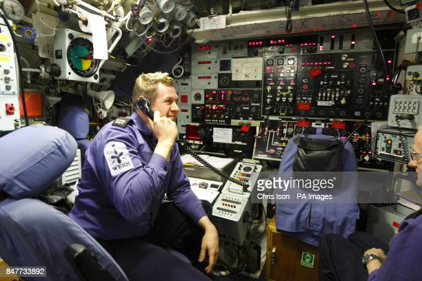 A general view inside the control room aboard the Royal Navy nuclear submarine HMS Tireless after arriving in Southampton for a five day visit