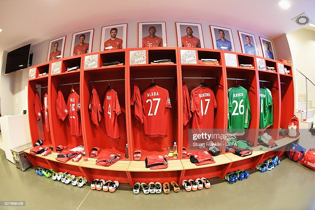 A general view inside the dressing room of Muenchen before the UEFA Champions League Semi Final second leg match between FC Bayern Muenchen and Club Atletico de Madrid at the Allianz Arena on May 03, 2016 in Munich, Bavaria.
