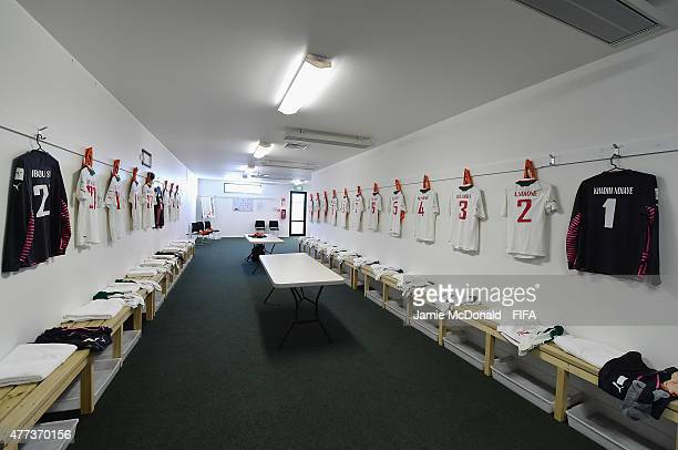 A general view inside the dressing room of Senegal prior to the FIFA U20 World Cup Semi Final match between Brazil and Senegal at Christchurch...