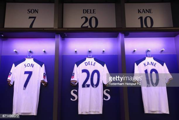 A general view inside the dressing room prior to The Emirates FA Cup SemiFinal between Chelsea and Tottenham Hotspur at Wembley Stadium on April 22...