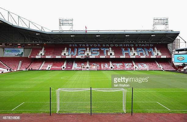 A general view inside the ground prior to the Barclays Premier League match between West Ham United and Manchester City at Boleyn Ground on October...