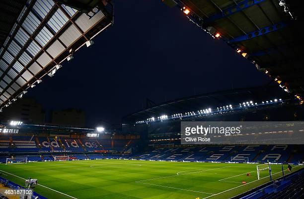 A general view inside the ground prior to the Barclays Premier League match between Chelsea and Everton at Stamford Bridge on February 11 2015 in...