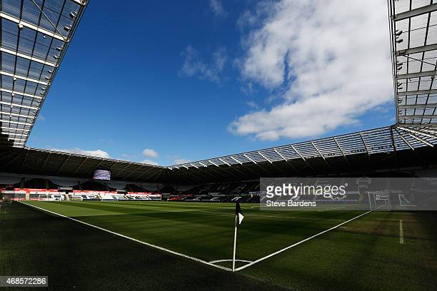 A general view inside the ground prior to the Barclays Premier League match between Swansea City and Hull City at Liberty Stadium on April 4 2015 in...