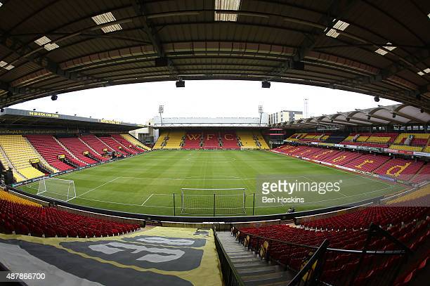 A general view inside the ground prior to the Barclays Premier League match between Watford and Swansea City at Vicarage Road on September 12 2015 in...
