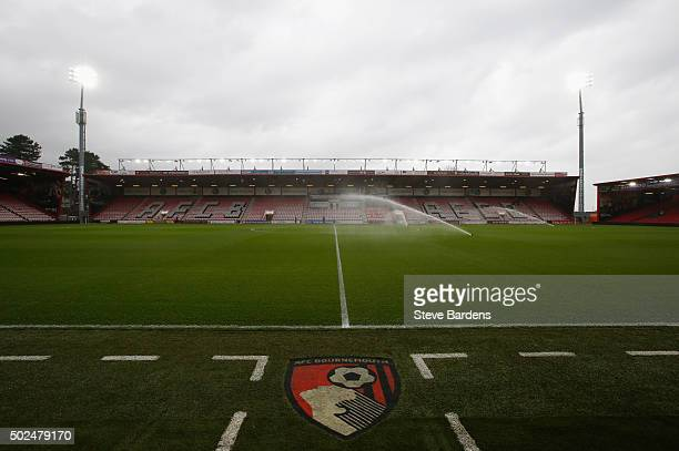 A general view inside the ground prior to the Barclays Premier League match between AFC Bournemouth and Crystal Palace at Vitality Stadium on...
