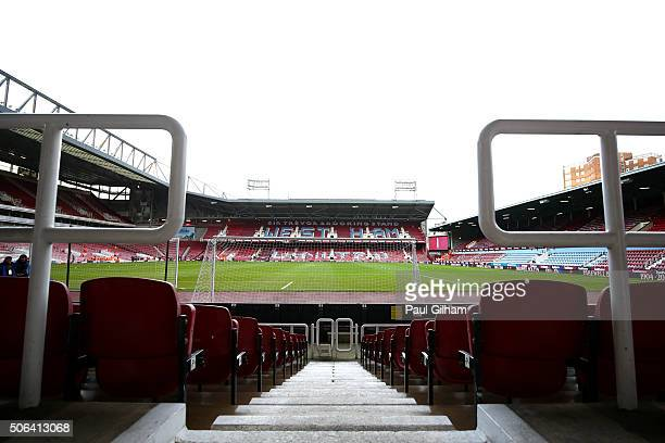 A general view inside the ground prior to the Barclays Premier League match between West Ham United and Manchester City at the Boleyn Ground on...