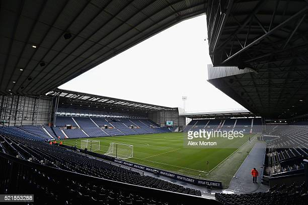 A general view inside the ground prior to the Barclays Premier League match between West Bromwich Albion and Watford at The Hawthorns on April 16...