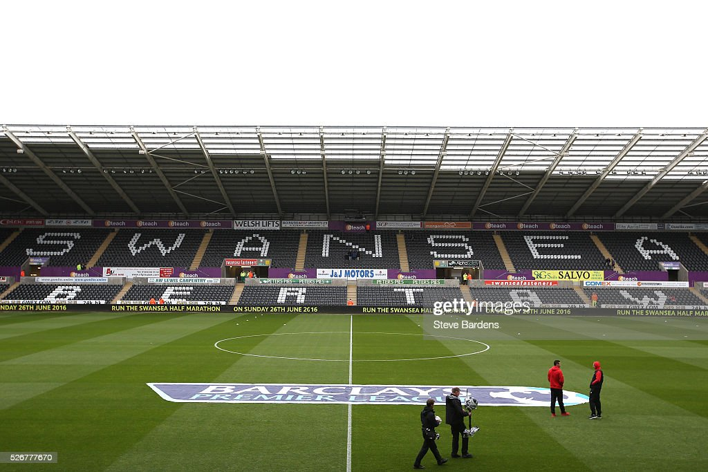 A general view inside the ground prior to the Barclays Premier League match between Swansea City and Liverpool at The Liberty Stadium on May 1, 2016 in Swansea, Wales.
