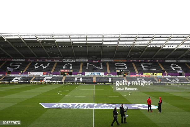 A general view inside the ground prior to the Barclays Premier League match between Swansea City and Liverpool at The Liberty Stadium on May 1 2016...