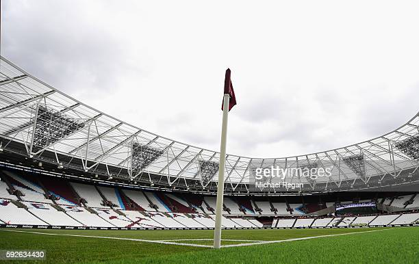 A general view inside the ground prior to the Premier League match between West Ham United and AFC Bournemouth at London Stadium on August 21 2016 in...