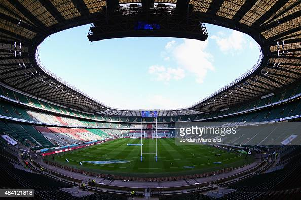 A general view inside the ground prior to the QBE International match between England and France at Twickenham Stadium on August 15 2015 in London...