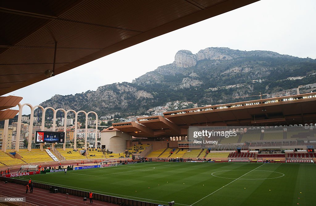 A general view inside the ground prior to the UEFA Champions League quarterfinal second leg match between AS Monaco FC and Juventus at Stade Louis II...